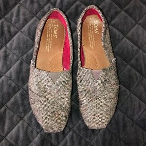 Toms Tweed Gray Shoes Flats Soft Sz 7